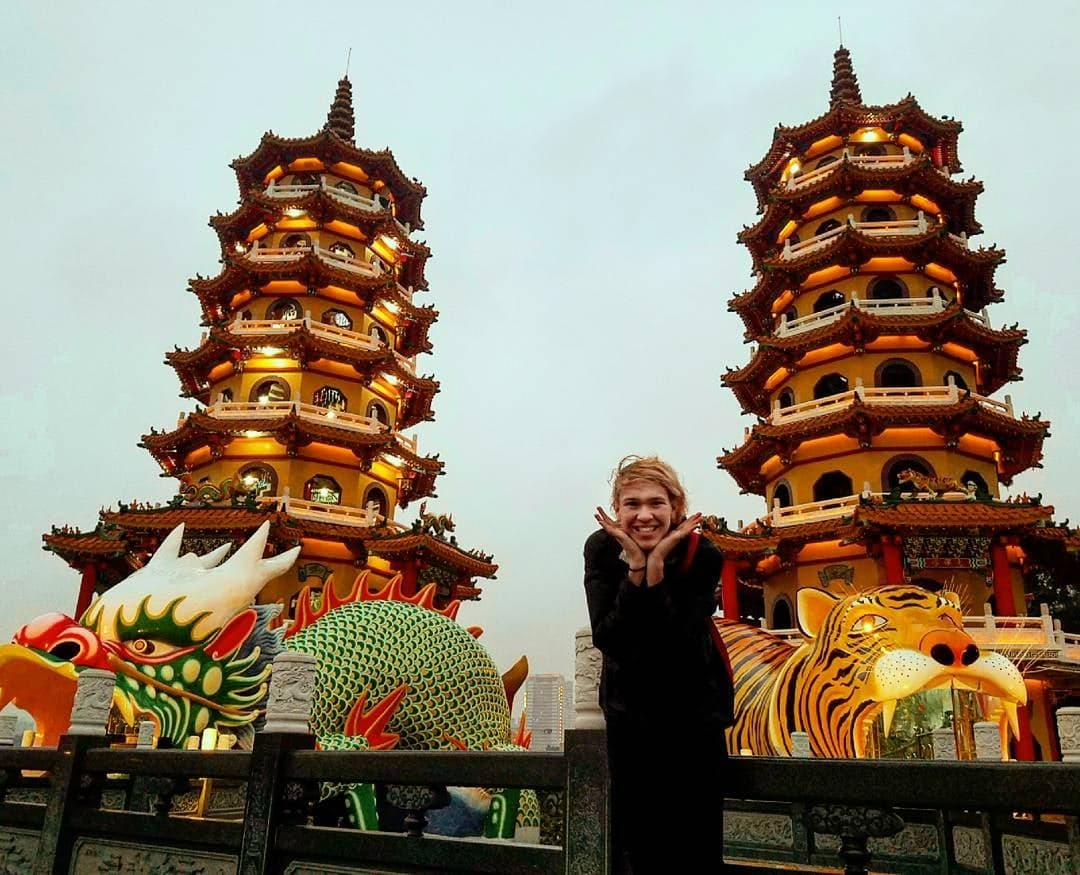 Alex at the Tiger Dragon Temple In South Taiwan