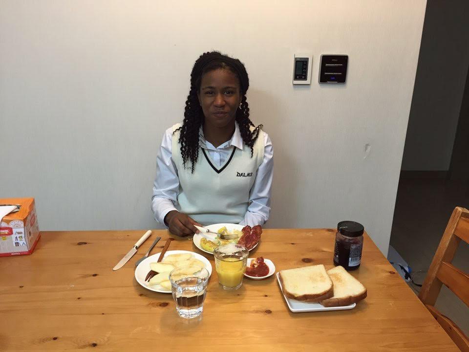 Simone Eating Breakfast