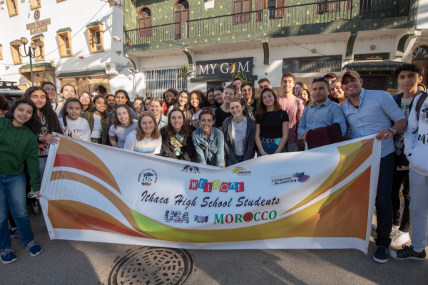 Group Photo Morocco And U S Students With Banner